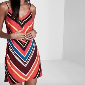 Express Striped Slip Dress Small Red Blue Yellow